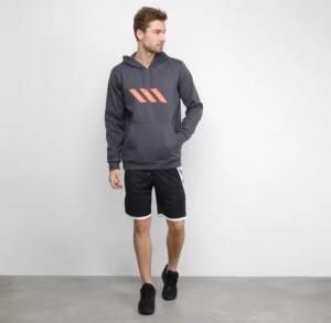 Blusa Moletom Adidas SPT B-Ball Masculina - Cinza
