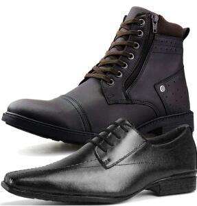 Kit Bota Casual e Sapato Social Neway Masculino - R$ 119,00