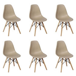 Conjunto 6 Cadeiras Charles Eames Eiffel Wood Base Madeira - Nude R$ 439