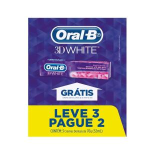 CREME DENTAL ORAL-B 3D WHITE 70g 3 UNIDADES | R$10