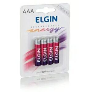 Pilha Recarregável Elgin AAA 1000 mAh - 4 unidades | R$30