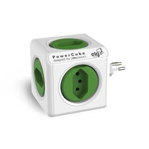 Multiplicador 5 Tomadas Bivolt - PowerCube ELG - PWC-R5, Verde e Branco | R$ 79,90