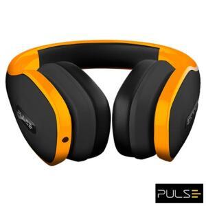 Fone de Ouvido Sem Fio Pulse Over Ear Stereo Áudio Bluetooth Preto e Laranja - PH148   R$ 85