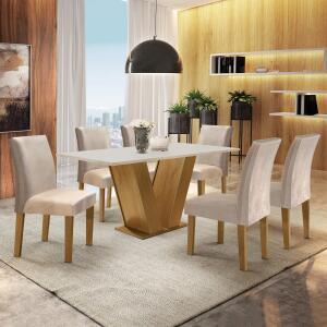 Conjunto Sala de Jantar Mesa Tampo MDF 6 Cadeiras R$ 880