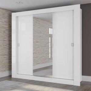 Guarda Roupa Casal Kappesberg Com Espelho 3 Portas De Correr Branco R$ 500