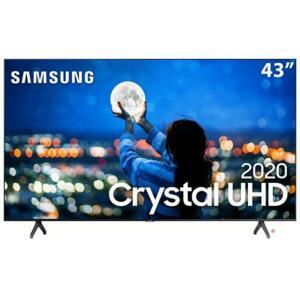 "Smart TV LED 43"" UHD 4K Samsung 43TU7000 Crystal UHD, HDR, Borda Infinita, Controle Remoto Único, Bluetooth - 2020"