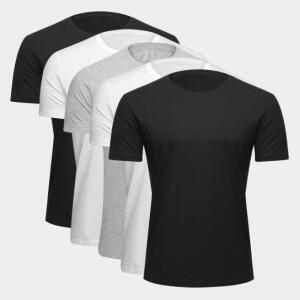 Kit Camiseta Básica c/ 5 Peças Masculina - Preto e Branco - R$65