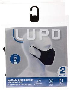 Kit com 2 Máscaras Bac OFF Microfibra Sem Costura, Lupo, Preto, U | R$ 17