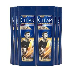Kit com 6 uni do Shampoo Anticaspa Clear Men Limpeza Profunda 400ml   R$ 82
