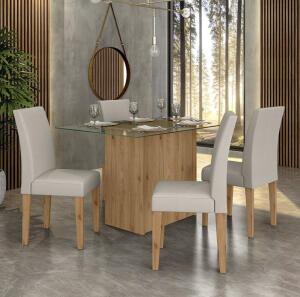 [AME R$360,53] Conjunto Sala De Jantar Viena De Vidro 4 Cadeiras - Móveis Arapongas