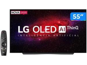 "Smart TV 4K OLED IPS 55"" LG OLED55CXPSA - Wi-Fi Bluetooth HDR Inteligência Artificial 4 HDMI R$6220"