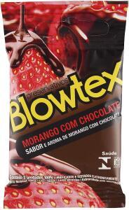 Preservativo Morango com Chocolate com 3 Unidades, Blowtex, Branco | R$ 3
