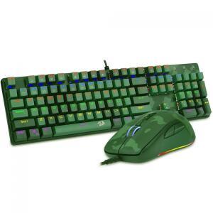 Combo Gamer Redragon Teclado Mecanico Rainbow e Mouse RGB, S108 Light Green | R$349