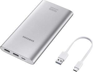 Bateria Externa Carga Rápida 10,000Mah USB Tipo C Prata, Samsung, EB-P1100CSPGBR, Prata