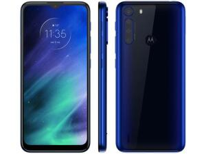 "Motorola One Fusion 64GB Azul Safira - 4G 4GB RAM Tela 6,5"" Câm. Quádrupla + Selfie 8MP"