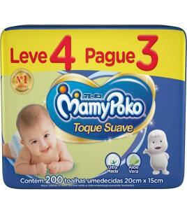 Toalhas Umedecidas MamyPoko, Pacote com 200 unidades | R$24