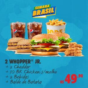 2 sanduíches Whopper Jr. + 2 sanduíches Cheddar + 10 BK Chicken + 2 Free Refill + 1 Balde de Batata