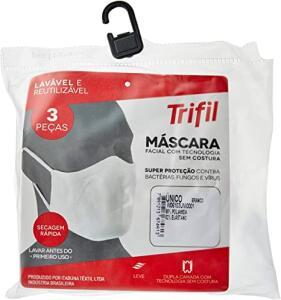 [PRIME] Kit com 3 Máscaras Microfibra Trifil (BRANCA ou PRETA)