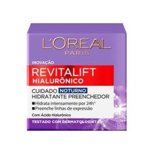 [R$ 28 de volta] Creme Anti-idade L'Oréal Paris Revitalift Hialurônico Noturno | R$ 40,89