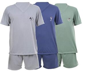 Kit Com 3 Pijamas Curtos Masculino Ayron 082 Liso - Cores Sortidas