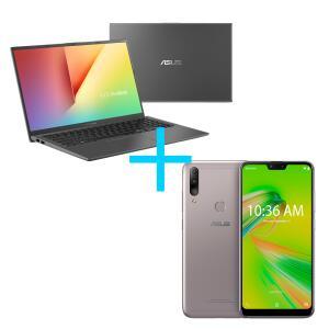 Notebook ASUS VivoBook Cinza + Smartphone ASUS Zenfone Max Shot 3GB/64GB (32GB+32GB) Prata | R$4.449