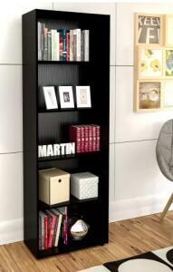 Estante para Livros Multy 4 Prateleiras Preto - Artely | R$180