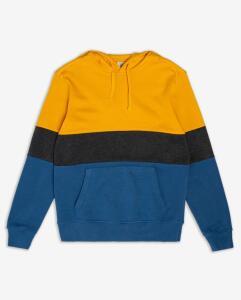 Blusão Moletom Capuz Tricolor - Amarelo/Azul | R$ 50