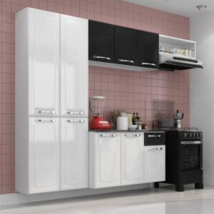 Cozinha Itatiaia amanda compacta 4 peças branca e preta | R$599
