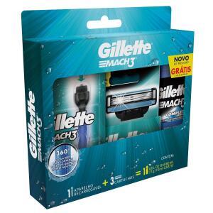 Kit Aparelho de Barbear Gillette Mach3 + 3 Cargas + Gel de Barbear 72ml | R$30