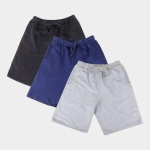 Kit Bermuda Básicos 3 Peças Masculina - Preto, Azul e Cinza