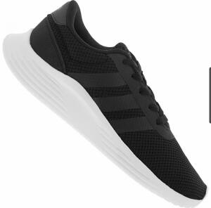 Tênis Adidas Lite Racer 20 feminino - preto e branco   R$ 105