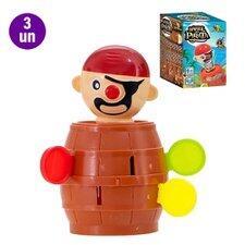 Kit 3 Brinquedos Jogo Mini Pula Barril Do Pirata Infantil Art Brink R$35
