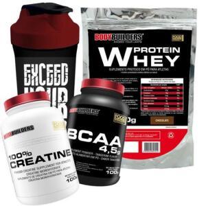 Kit Whey Protein 500 G + BCAA 4,5 100g + 100% Creatine 100 G + Coqueteleira - Bodybuilders | R$50