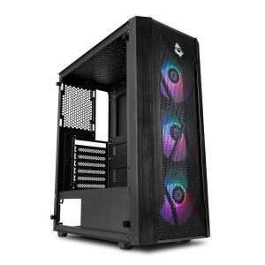 Gabinete Gamer Mancer Frost Rainbow Vidro Temp Preto   R$230