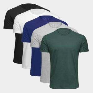Kit Camiseta Básica c/ 5 Peças Masculina | R$70