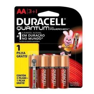 Pilha Alcalina Duracell Quantum, AA Pequena, com 4 Unidades