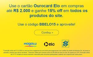 [CC Ourocard Elo] 15% de desconto em compras de até R$2000,00 em todo o site