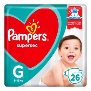 [Leve 3, pague 2] Fraldas Pampers Supersec G 26 Unidades   R$ 18