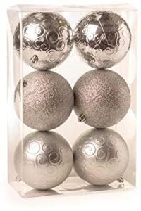 [Prime] Kit 6 Bolas De Natal Arabesco Brilho - Mate E Glitter Prata 10 Cm | R$23