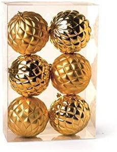 [Prime] Kit 6 Bolas De Natal Com Losangos Ouro - 10 Cm | R$ 38