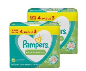 Kit de Lenço Umedecido Pampers Aloe Vera L4P3 384un | R$50