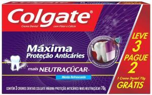 Creme Dental Colgate Máxima Proteção Anticáries mais Neutraçúcar 70g Promo Leve 3 Pague 2