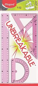 [PRIME] Conjunto Unbreakable: Régua 30cm + Esquadros 45 e 60 + Transferidor 180 - Maped   R$12