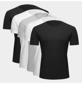 [ APP + R$20 de Volta] Kit Camiseta Básica c/ 5 Peças Masculina-Básicos