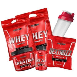 Kit 2x Nutri Whey Protein 907g Morango + Bcaa 90 Capsulas + Creatina 150g + Dextrozz 1kg Integralmedica + Shaker