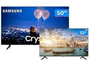 "Combo Smart TV Crystal LED 50"" Samsung - 50TU8000 + Smart TV HD D-LED 32"" Philco | R$3.031"