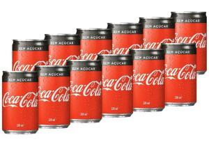 (R$3 de volta no APP) refrigerante coca cola zero 220ml, 12 unidades | R$ 18