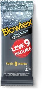 Preservativo Lubrificado Leve 9 Pague 6 Unidades, Blowtex