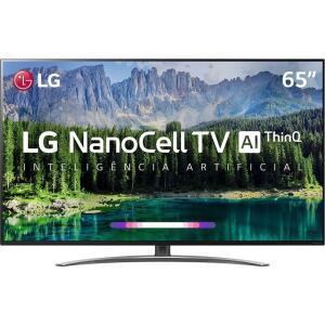 Smart TV LED 65'' LG 65SM8600 Ultra HD 4K Nanocell com Conversor Digital 4 HDMI 3 USB Wi-Fi Thinq Ai - Preta Controle Smart Magic