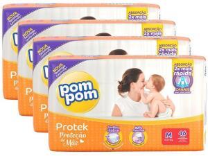 Kit Fraldas Pom Pom Protek Proteção de Mãe Tam. M - 46 Unidades Cada 4 Pacotes | R$90